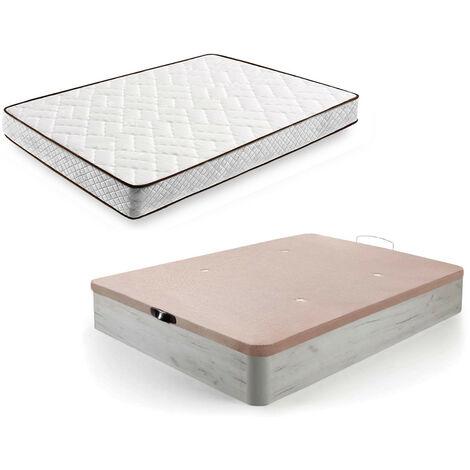Cama Completa - Colchon Flexitex + Canape Abatible de Madera Color Blanco Vintage
