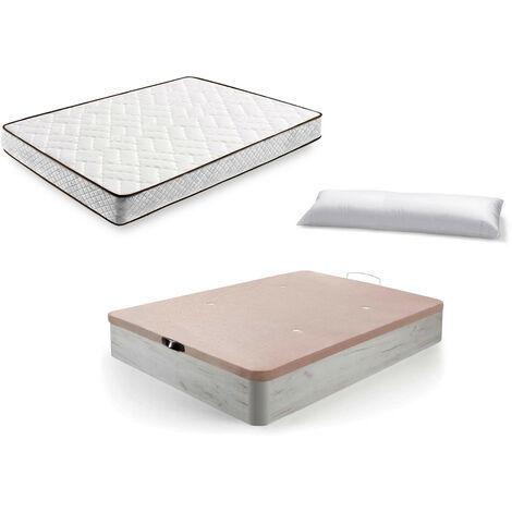 Cama Completa - Colchon Flexitex + Canape Abatible de Madera Color Blanco Vintage + Almohada de Fibra