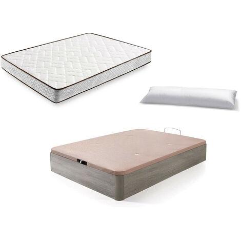 Cama Completa - Colchon Flexitex + Canape Abatible de Madera Color Roble Cambrian + Almohada de Fibra