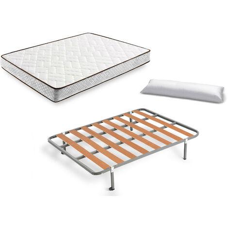 Cama Completa - Colchon Flexitex + Somier Basic + 4 Patas de 26cm + Almohada de Fibra