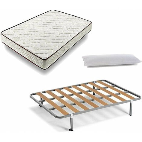 Cama Completa - Colchon Flexitex + Somier Basic + 4 Patas de 32cm + Almohada de Fibra