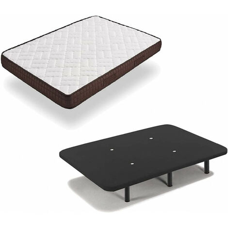 Cama Completa - Colchon Viscobrown Reversible + Base Tapizada 3D Color Negro + 6 Patas de 26cm