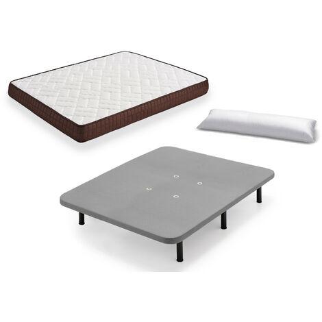 Cama Completa - Colchon Viscobrown Reversible + Base Tapizada 3D con 5 Barras Transversales Color Gris + 6 Patas de 26cm + Almohada de Fibra