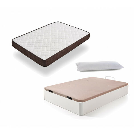 Cama Completa - Colchon Viscobrown Reversible + Canape Abatible de Madera Color Blanco + Almohada de Fibra
