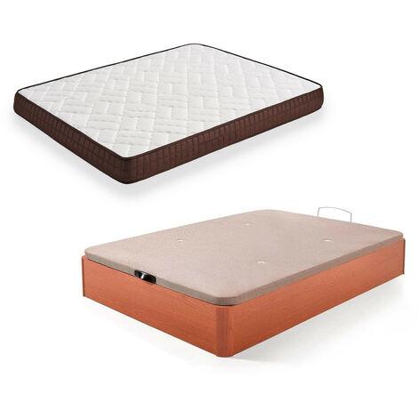 Cama Completa - Colchon Viscobrown Reversible + Canape Abatible de Madera Color Cerezo