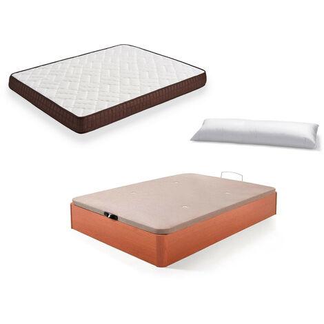Cama Completa - Colchon Viscobrown Reversible + Canape Abatible de Madera Color Cerezo + Almohada de Fibra