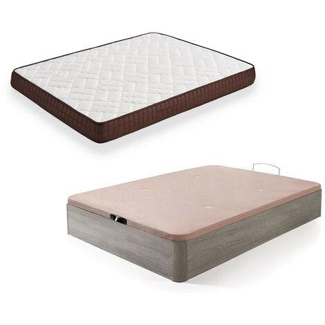 Cama Completa - Colchon Viscobrown Reversible + Canape Abatible de Madera Color Roble Cambrian