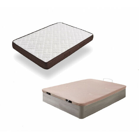 Cama Completa - Colchon Viscobrown Reversible + Canape Abatible de Madera Color Roble Cambrian