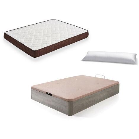 Cama Completa - Colchon Viscobrown Reversible + Canape Abatible de Madera Color Roble Cambrian + Almohada de Fibra
