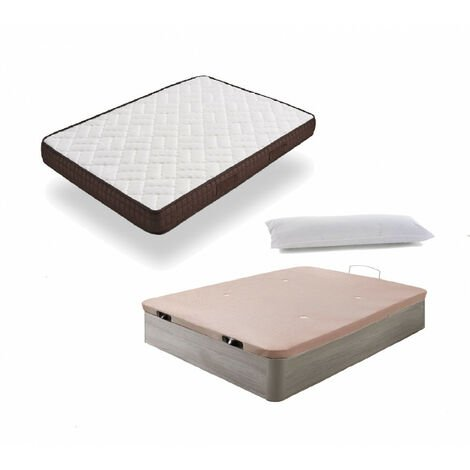 Cama Completa - Colchon Viscobrown Reversible + Canape Abatible de Madera Color Roble Cambrian + Almohada de Fibra
