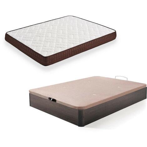 Cama Completa - Colchon Viscobrown Reversible + Canape Abatible de Madera Color Wengue