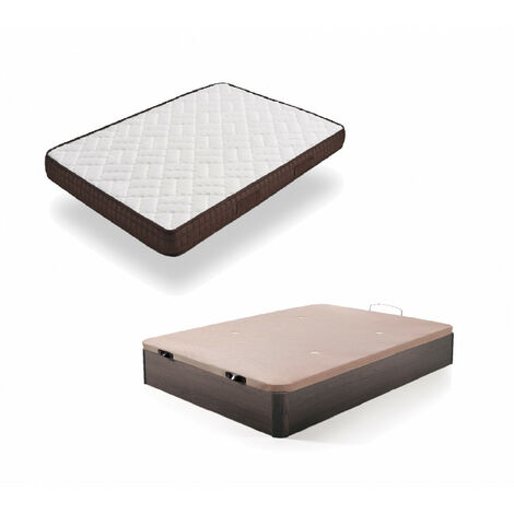Cama Completa - Colchon Viscobrown Reversible + Canape Abatible de Madera Color Wengue