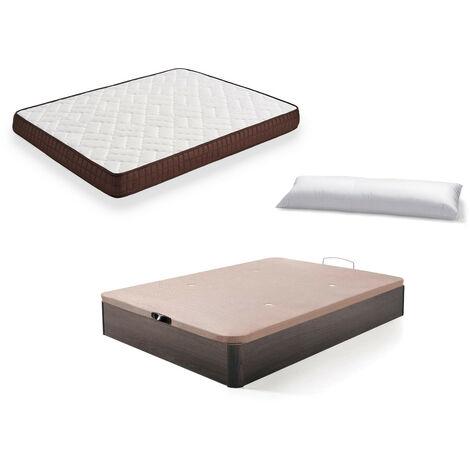 Cama Completa - Colchon Viscobrown Reversible + Canape Abatible de Madera Color Wengue + Almohada de Fibra