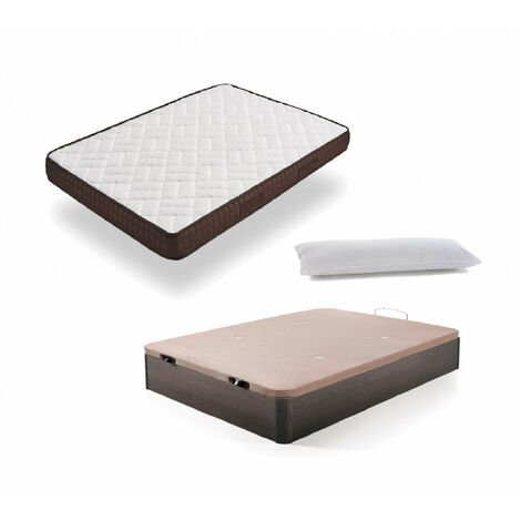 Cama Completa - Colchon Viscobrown Reversible + Canape Abatible de Madera Color Wengue + Almohada de Fibra