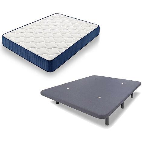 Cama Completa - Colchon Viscoelastico Viscorelax + Base Tapizada 3D con 5 Barras Transversales Color Gris + 7 Patas de 32cm