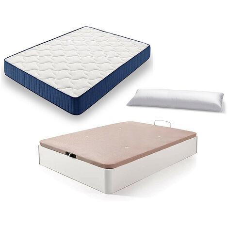 Cama Completa - Colchon Viscoelastico Viscorelax + Canape Abatible de Madera Color Blanco + Almohada de Fibra