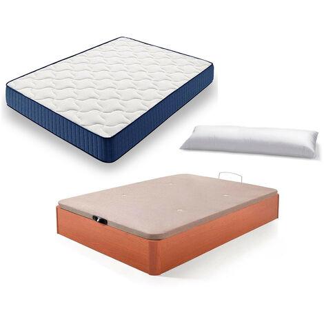 Cama Completa - Colchon Viscoelastico Viscorelax + Canape Abatible de Madera Color Cerezo + Almohada de Fibra