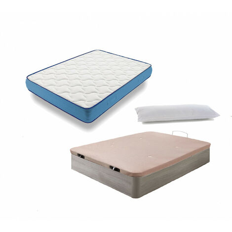 Cama Completa - Colchon Viscoelastico Viscorelax + Canape Abatible de Madera Color Roble Cambrian + Almohada de Fibra