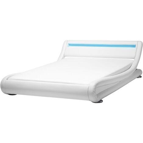 Cama de agua LED en piel sintética blanca 140x200 cm AVIGNON