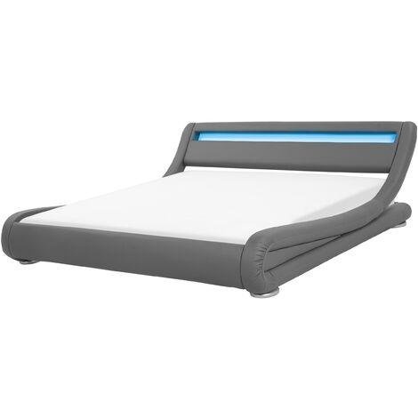 Cama de agua LED gris en piel sintética 180x200 cm AVIGNON