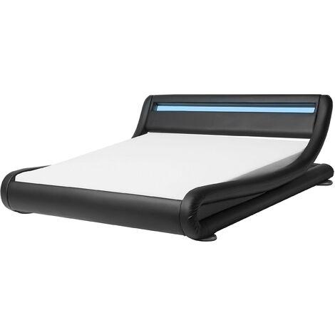 Cama de agua LED negra en piel sintética 160x200 cm AVIGNON