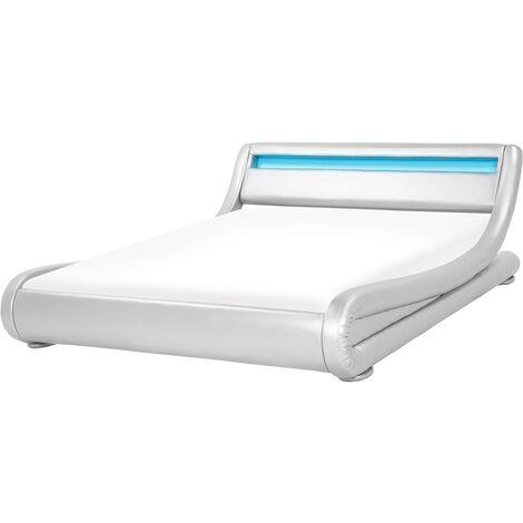 Cama de agua LED plateada en piel sintética 160x200 cm AVIGNON
