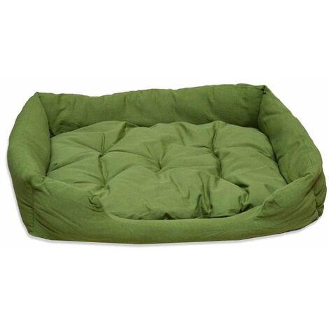 Cama De Animal Para Perro Gato Acolchado Color Verde 84 cm + Cojín