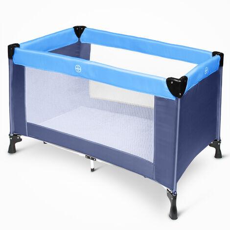Cama de Bebé Portátil, Patio de Juegos para Bebes, Estándar CE, 125 x 65 x 76 cm, Azul cielo/Azul marino, Tamaño desplegada: 125 x 76 x 65 cm