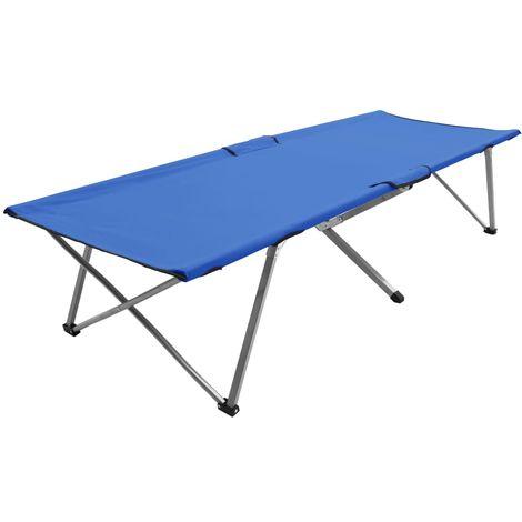 Cama de camping azul XXL 206x75x45 cm