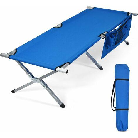 Cama de Camping Cama Plegable Carga hasta 130 kg Cama Individual con Bolsillo Lateral y Bolsa de Transporte para Viaje Playa Oficina