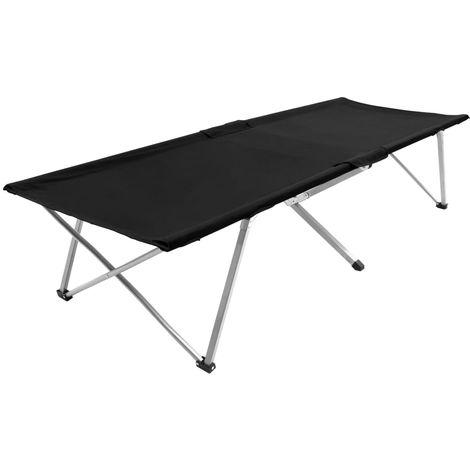 Cama de camping negro XXL 206x75x45 cm