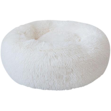 Cama de felpa redonda para perros, blanca, L