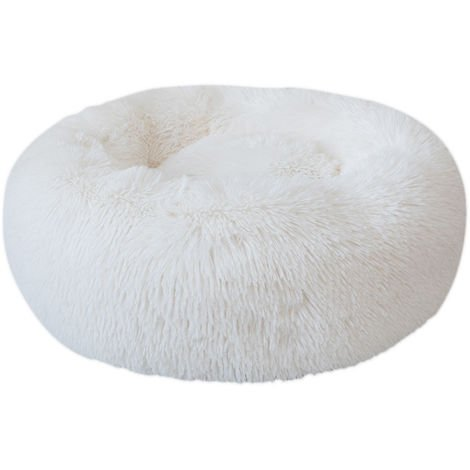 Cama de felpa redonda para perros, blanca, XL