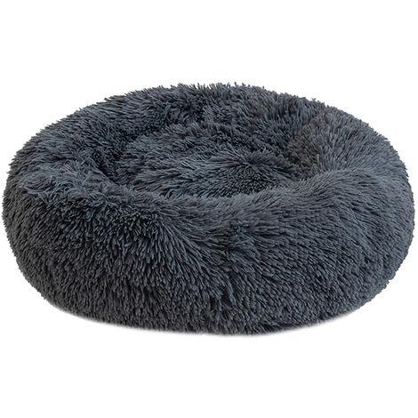 Cama de felpa redonda para perros, gris oscuro, XL