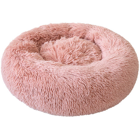 Cama de felpa redonda para perros, rosa, XL
