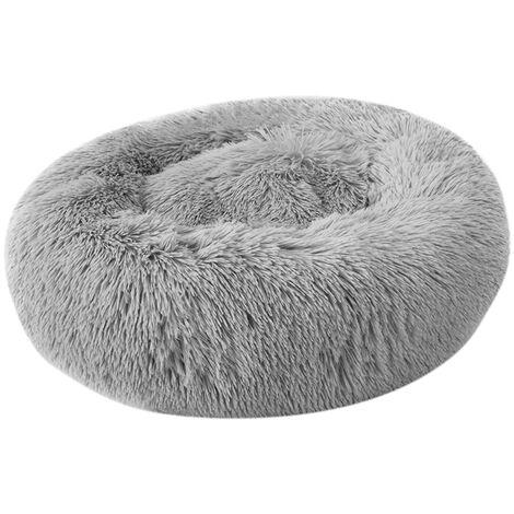 Cama de felpa redonda suave para mascotas, para gatos perros pequenos, gris claro,40M