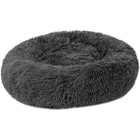 Cama de felpa redonda suave para mascotas, para gatos perros pequenos, gris oscuro,50M