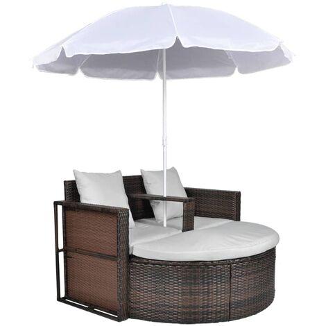 Cama de jardín con sombrilla de ratán sintético marrón
