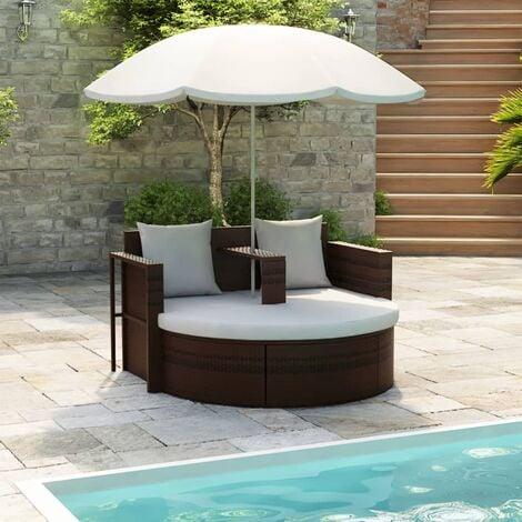 Cama de jardín con sombrilla de ratán sintético marrón - Marrón