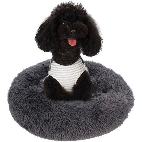Cama de lana mullida para perros, almohada redonda de felpa suave para nido de perro