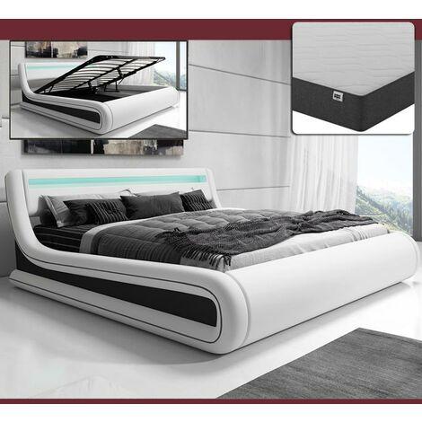 Cama de matrimonio canapé Rodas con colchón en color blanco con negro