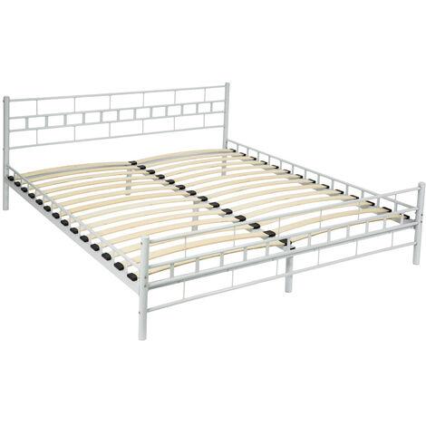 Cama de matrimonio con cabecero y pie de acero y con somier de láminas de madera - somier para cama doble, cama para colchón doble, base metálica de cama con cabecero y pies