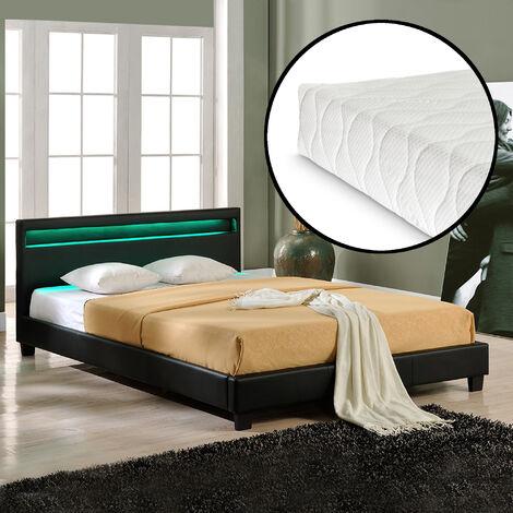 Cama de matrimonio de cuero sintético (París) - con colchón y con sistema de iluminación LED (160x200cm) - (negro)