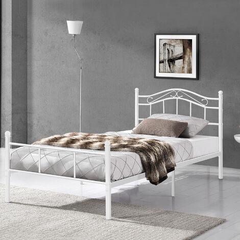 Cama de metal 90x200 blanca armazón cama estructura base con somier