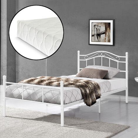 Cama de metal 90x200 blanca con colchón incluido estructura base con somier