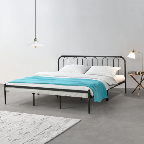 Cama de Metal con Somier - 200 x 180 cm - Cama Doble - Cama Matrimonio - Negro Mate