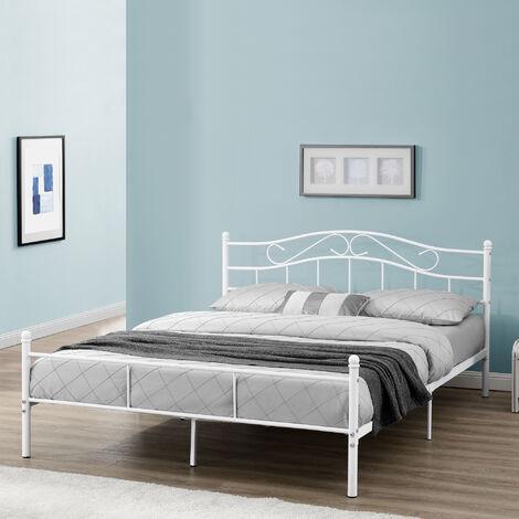 Cama de metal doble (Florencia)(160 x 200cm)(blanca) con cabecero curvado / recubrimiento en polvo / somier incluido