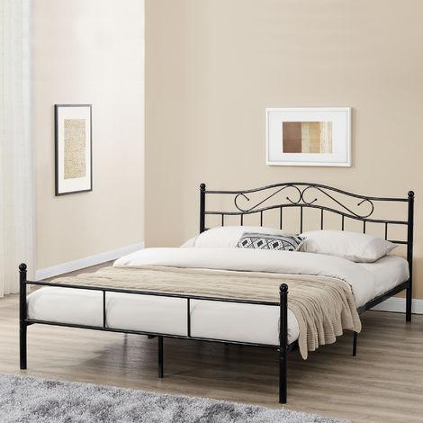 Cama de metal doble (Florencia)(160 x 200cm)(negro) con cabecero curvado / recubrimiento en polvo / somier incluido