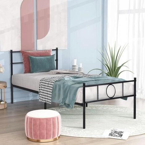 Cama de Metal Estructura 90x195cm, marco de cama, habitación de invitados dormitorio cama metal Negro