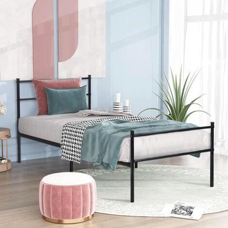 Cama de Metal Estructura 90x196cm, marco de cama, habitación de invitados dormitorio cama metal Negro